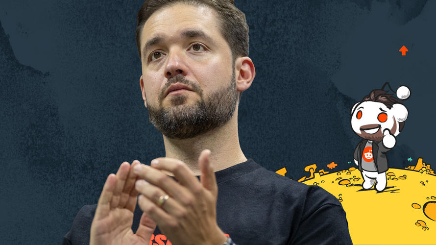 Photo of Alexis Ohanian and a Reddit illustration