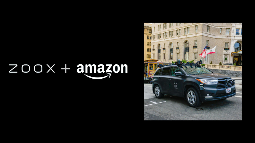 Zoox + Amazon logos next to a car