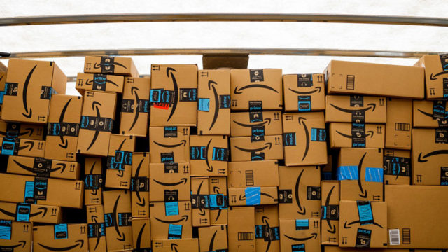 a stack of amazon boxes