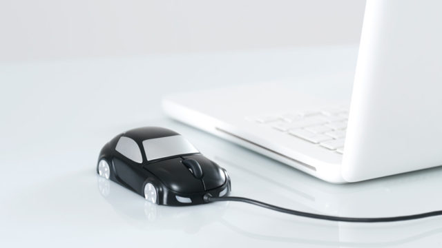 a computer with a car for a mouse