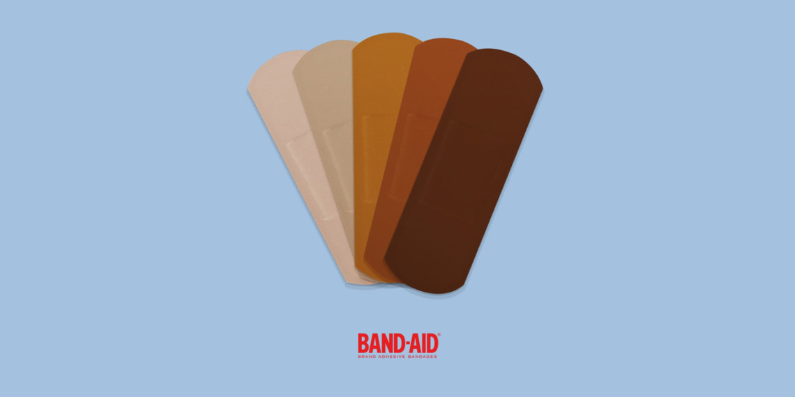 five bandages in a range of skin tones