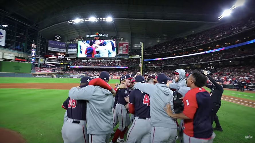 a baseball team celebrating