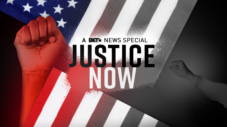a black fist over an american flag that says justice now