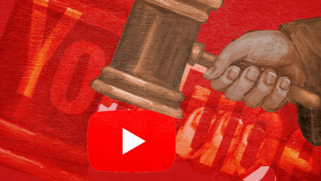youtube logo being crushed by a gavel