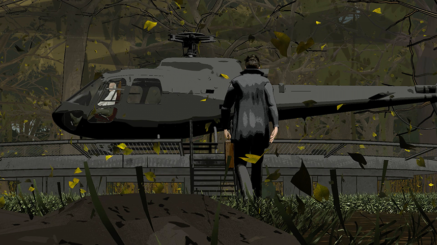a figure in a black jacket walking into a black helicopter