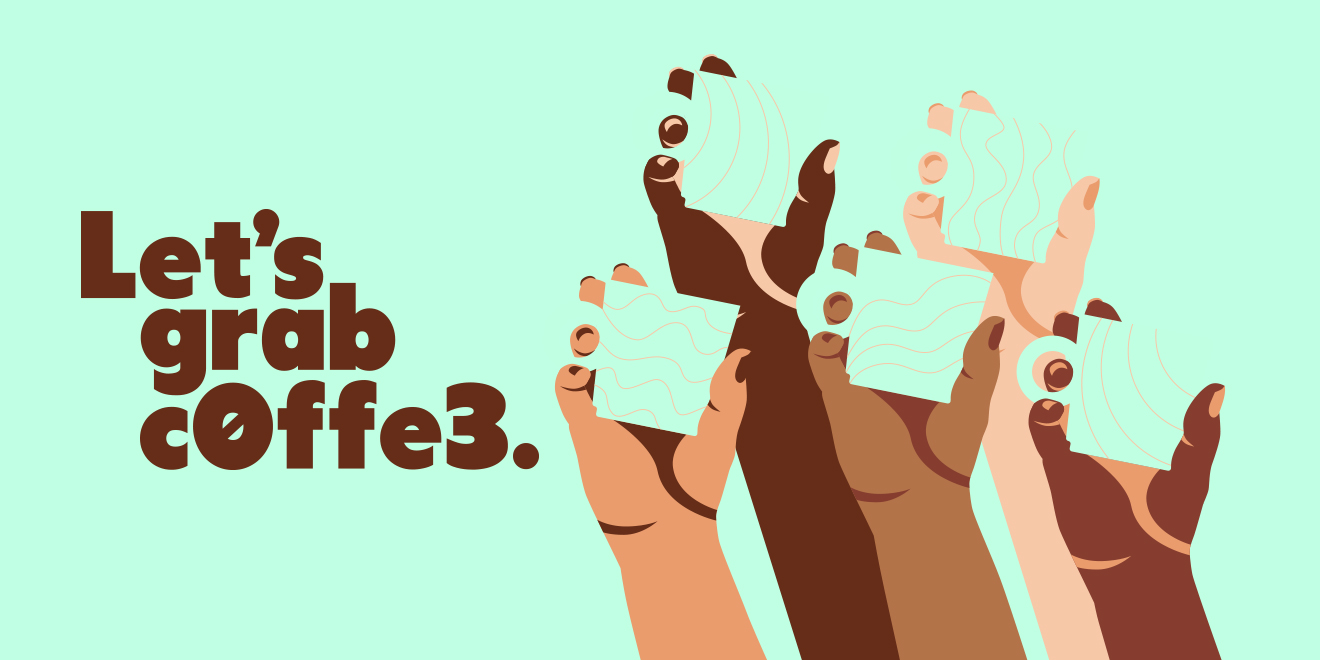 four hands of people of color holding coffee cups