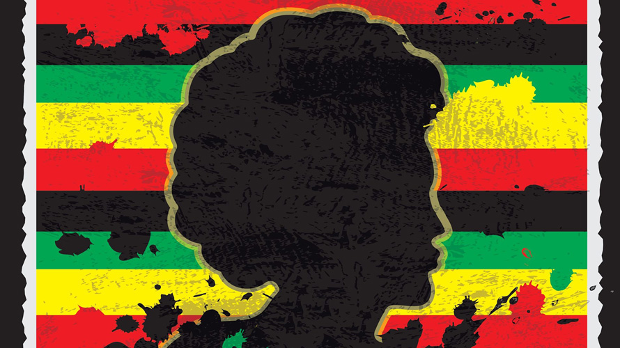silhouette of a Black woman against red, black, green and yellow backdrop