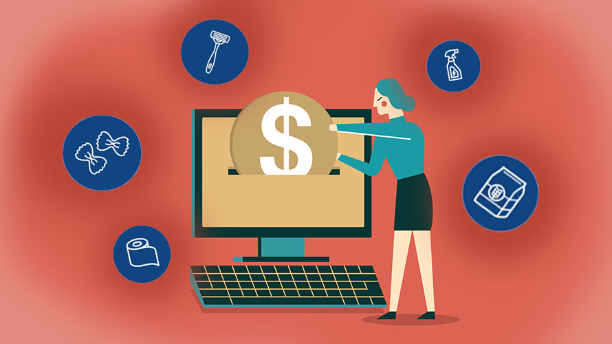 illustration of person putting coin into computer