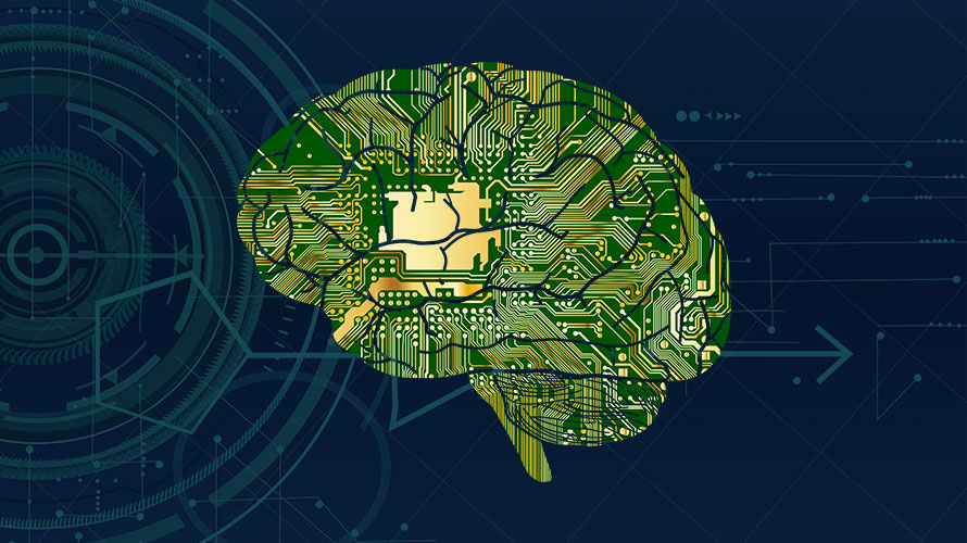 Illustration of a brain as a computer chip