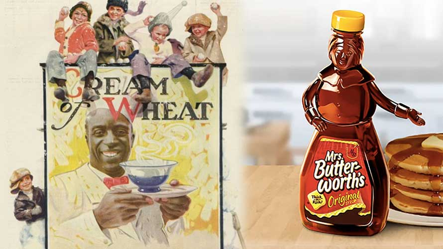 the cream of wheat logo on the left and the mrs butterworth's logo on the right