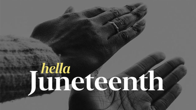 hands clapping with text hella juneteenth