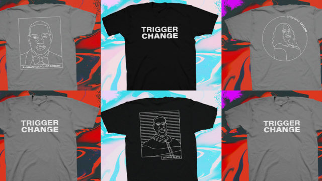 gray and black t-shirts that say trigger change