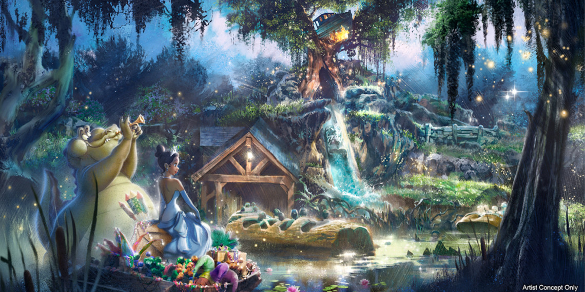 screengrab from a disney cartoon of a shack in the forest with an alligator playing a trumpet and a black princess standing next to him
