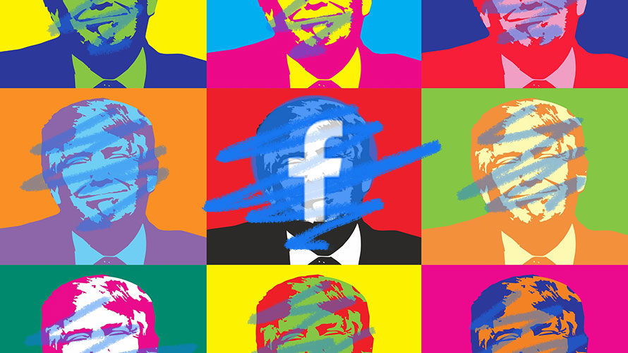 illustration of donald trump with colorful scribbles over his face and facebook's logo in the center