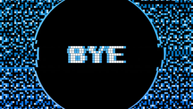fuzzy distorted blue surrounding a black circle that says bye