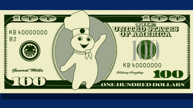 Pillsbury Doughboy on $100 bill