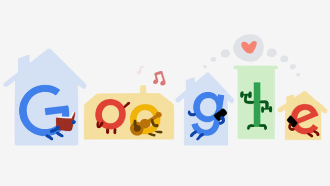 a google doodle with the letters inside small house