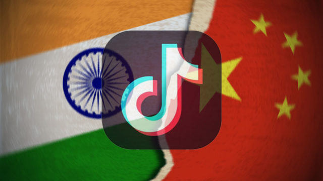tiktok logo on the chinese and indian flags
