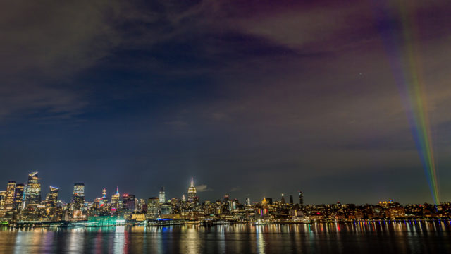 Photo of rainbow light near the Manhattan skyline