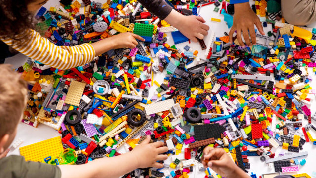 kids digging through legos