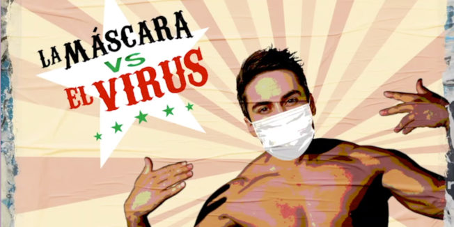 a shirtless man with a mask on and it says la mascara vs. el virus on the top left