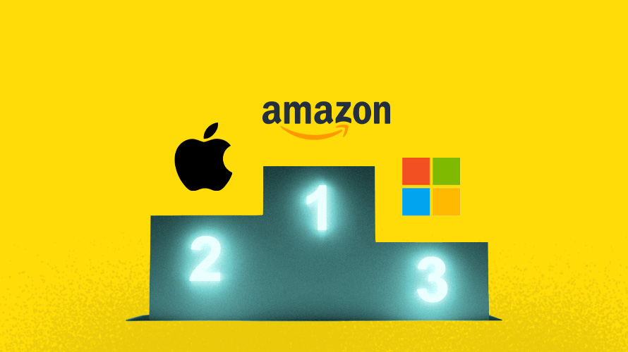 amazon, apple and microsoft on an olympic style pedestal