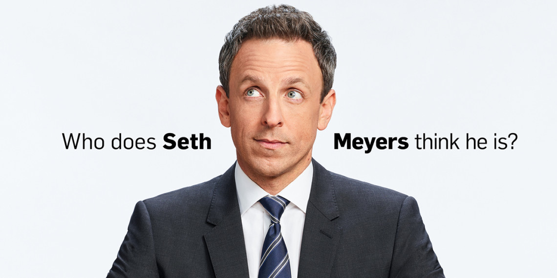 Seth Meyers looking up