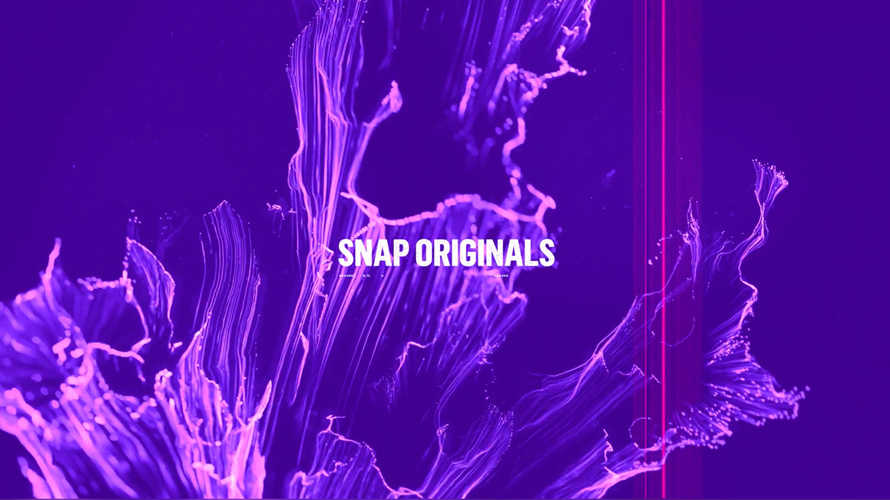 purple background with purple flames that says snap originals