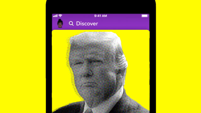 trump on a yellow background in a snapchat screen