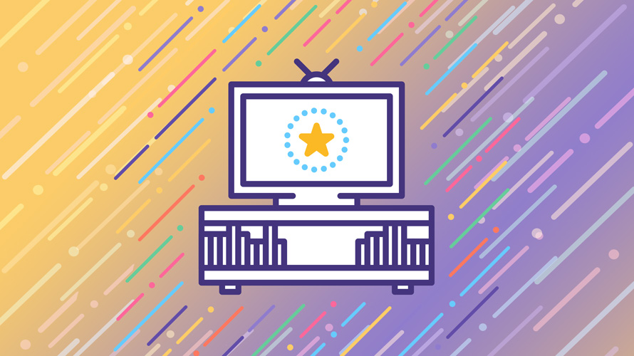 a tv set on an orange and purple striped background