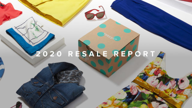 A photo with clothes and accessories and text that says '2020 Resale Report'