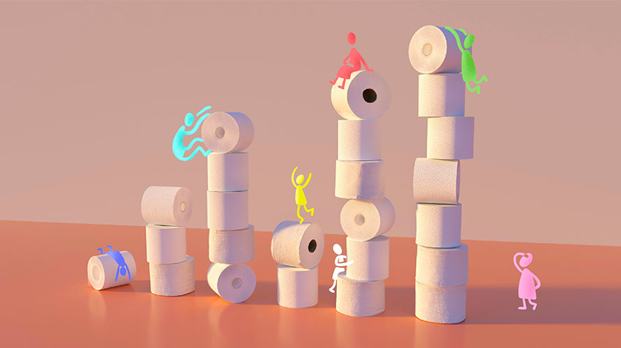 piles of toilet paper with colorful little people climbing and hanging on them