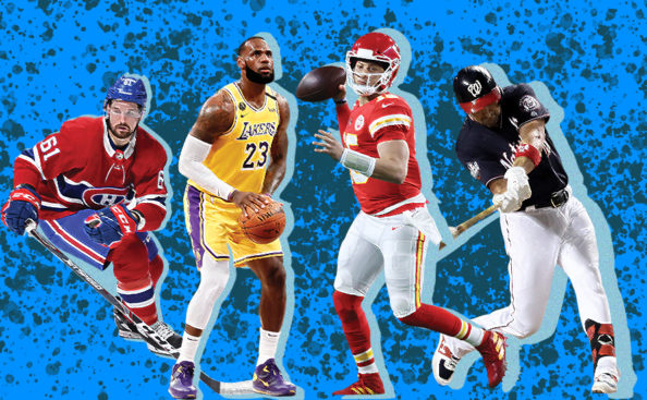 Photos of different sports athletes from the NHL, NBA, NFL and MLB