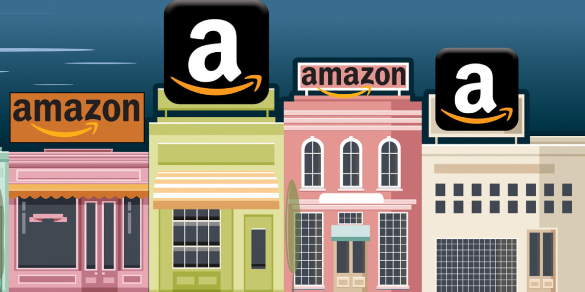 pink, green and white storefronts with amazon a's on top
