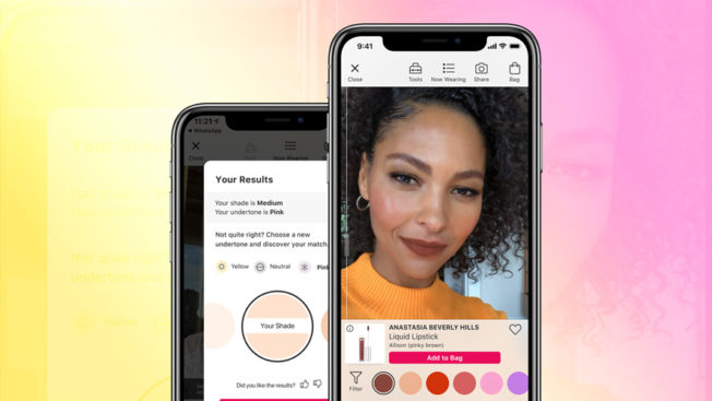 a black woman's photo on a phone with a range of colors beneath her