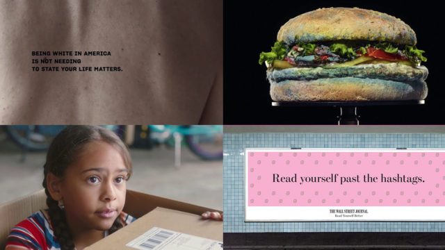 four panels from commercials including a moldy whopper and a girl in a box