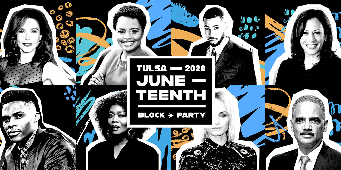 a poster with people's black and white headshots that says tulsa juneteenth block party