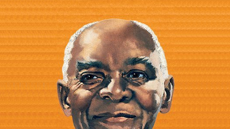 a photo of a smiling old black men, uncle ben's rice