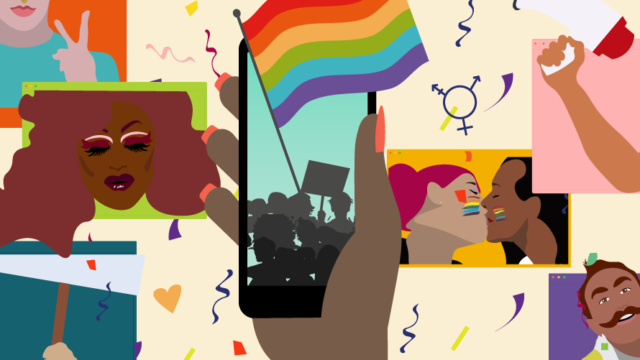 pride flags and scenes