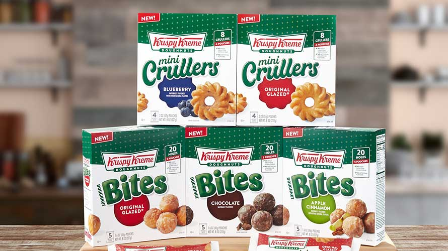 green and white packages of doughnuts and crullers