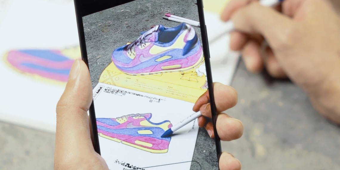 Person coloring in the Nike zine