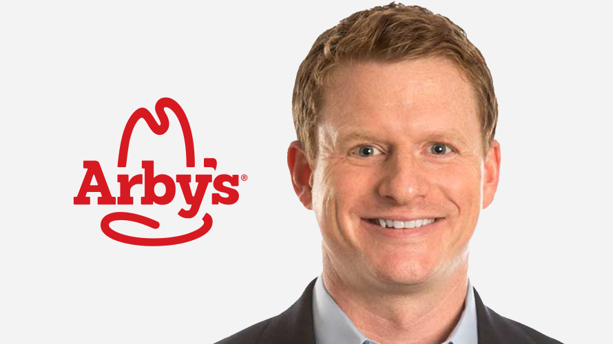 a smiling man on the right and the arby's logo on the left