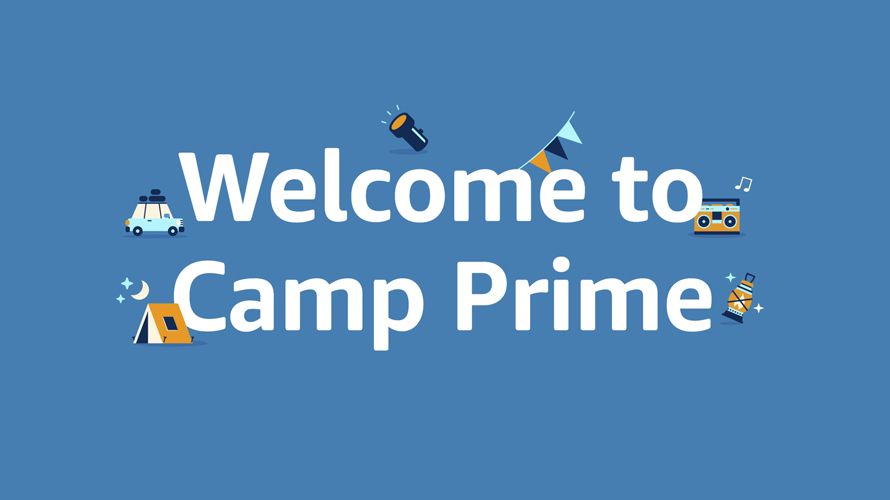 blue background with white text that reads welcome to camp prime with people doing camp activities on the letters