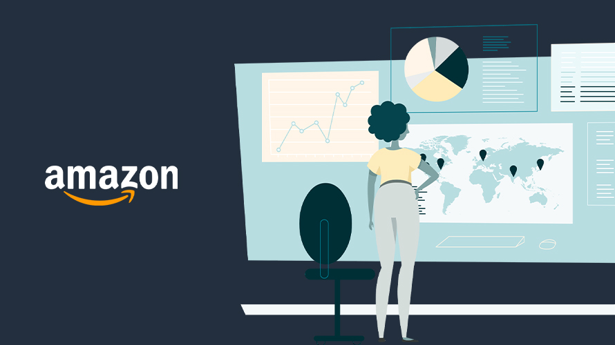 illustration of a woman standing in front of charts and graphs with the amazon logo to her left