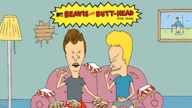 Beavis and Butt-Head sitting on a couch