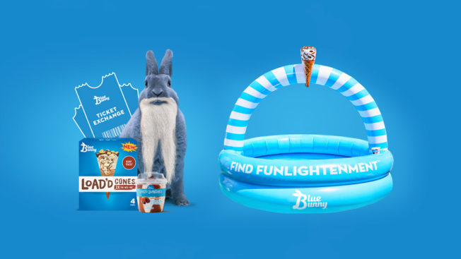 Photo of an inflatable pool, ice cream and Blue Bunny