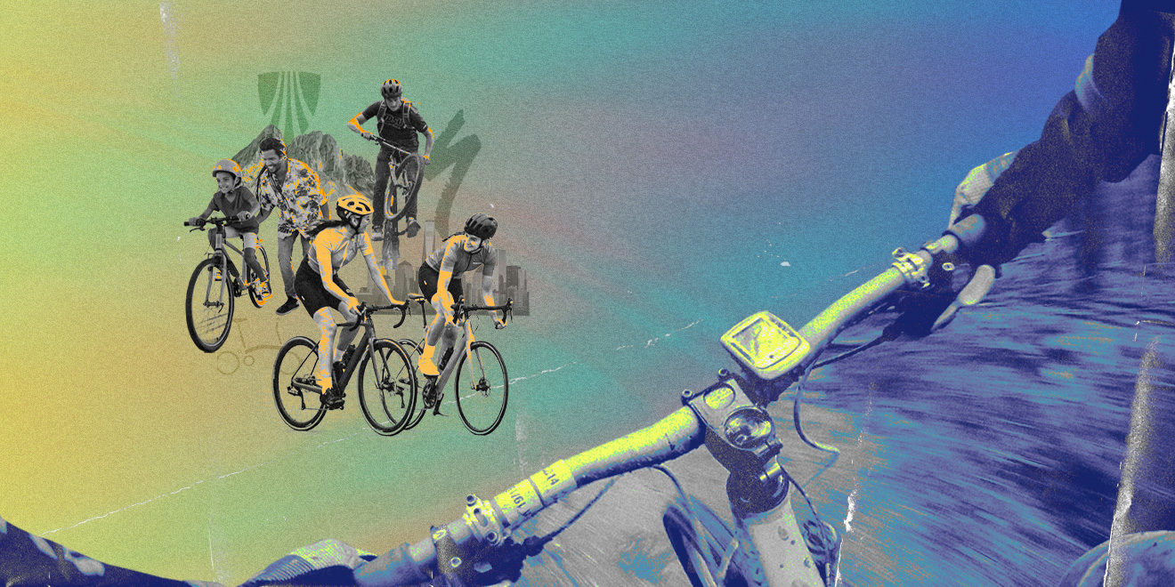 illustration from the POV of someone riding a bike with others on bikes in front