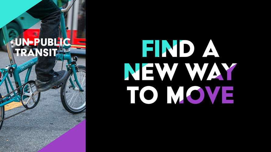 on the left a blue folding bike and on the right a tagline that says find a new way to move