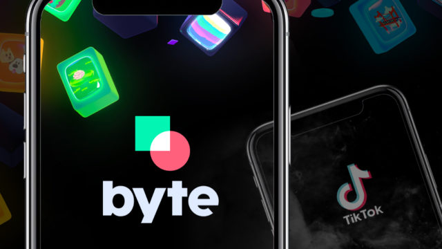 A photo of Byte and TikTok open on smartphones
