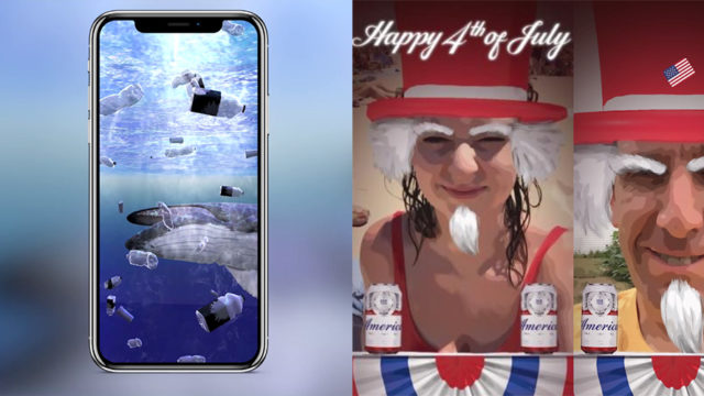 a phone screen showing an ocean with animals swimming on the left and a screen on the right of someone with an uncle sam filter on their face